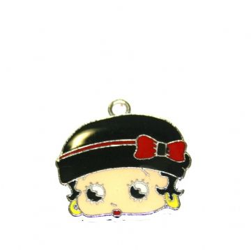 1pce x 23*19mm Betty face with black hat and red bow enamel charms - S.D03 - CHE1296